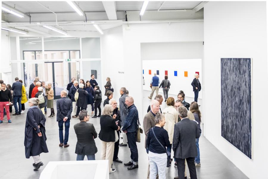 Marcia Hafif und Maja Rieder, Vernissage Kunsthaus Baselland, 2017, Foto Ismael Lorenzo